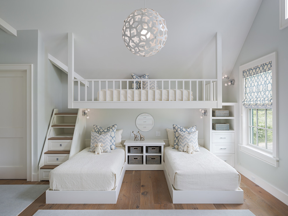 All White Cute Girl Bunk Beds