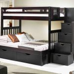 Black Twin over Full Bunk Beds Stairs