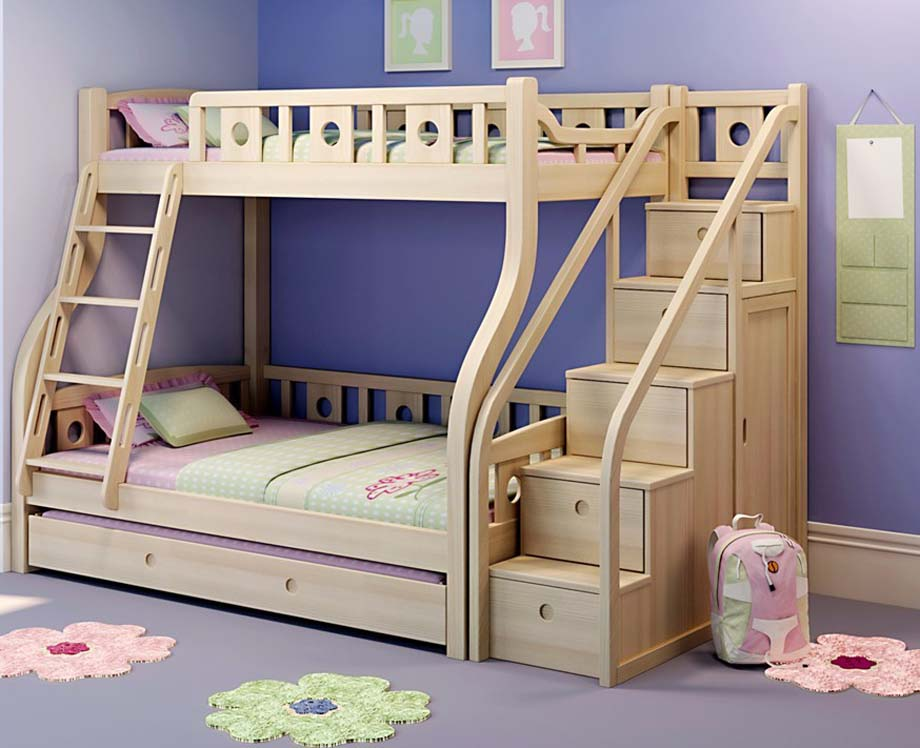 Bunk Bed with Steps Wood