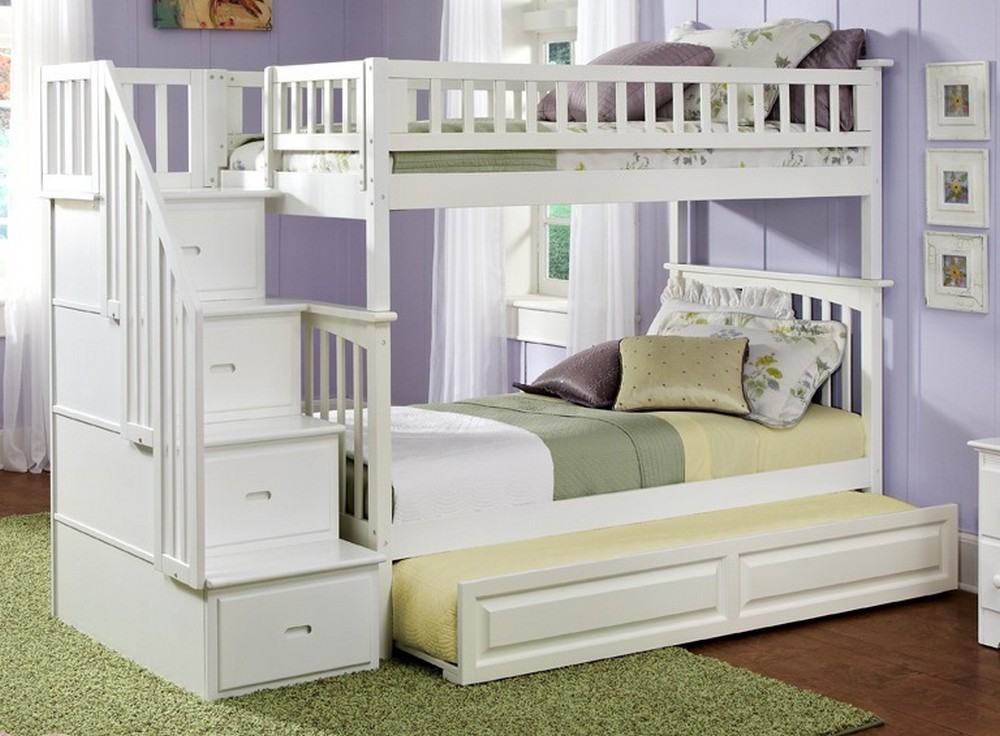 Bunk Beds with Stairs and Trundle White
