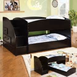 Bunk Beds with Steps Black