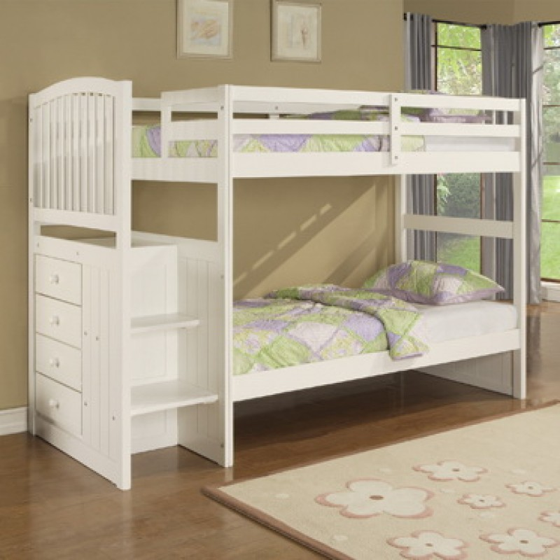 Bunk Beds With Steps White