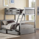 Gray Bunk Beds Twin Over Full with Storage