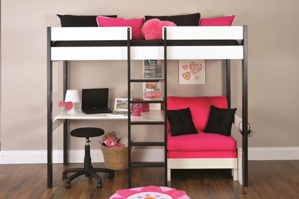 Green Bunk Beds with Desk Underneath
