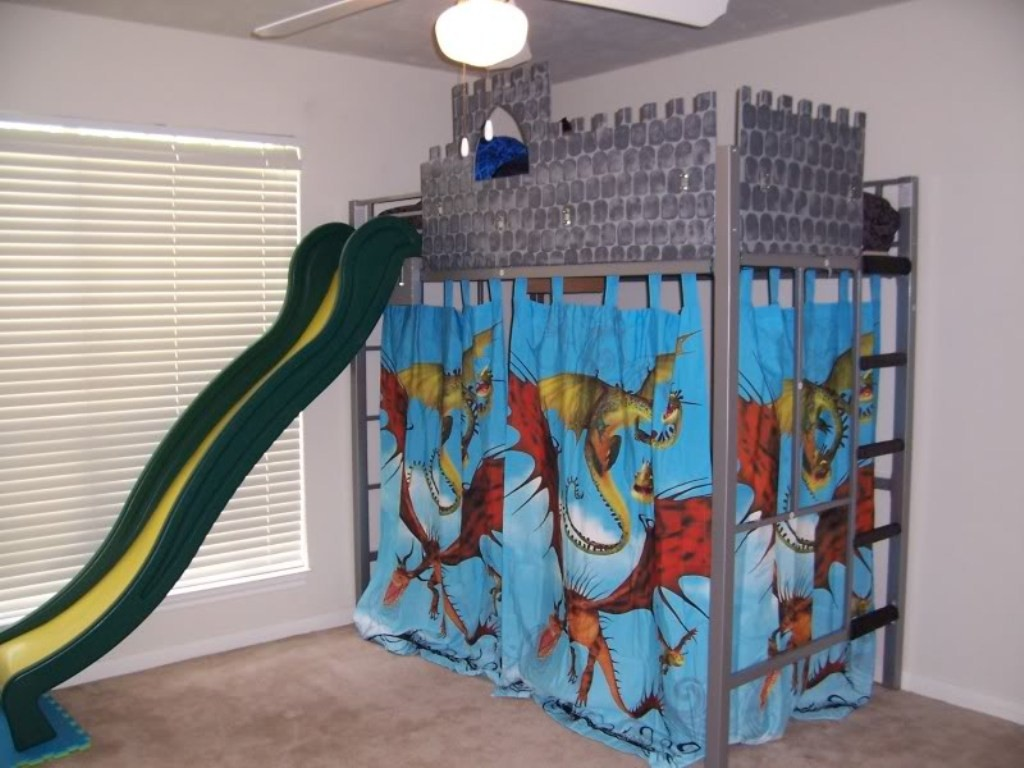 Image of: Kids Bunk Bed With Slide And Red Wrap