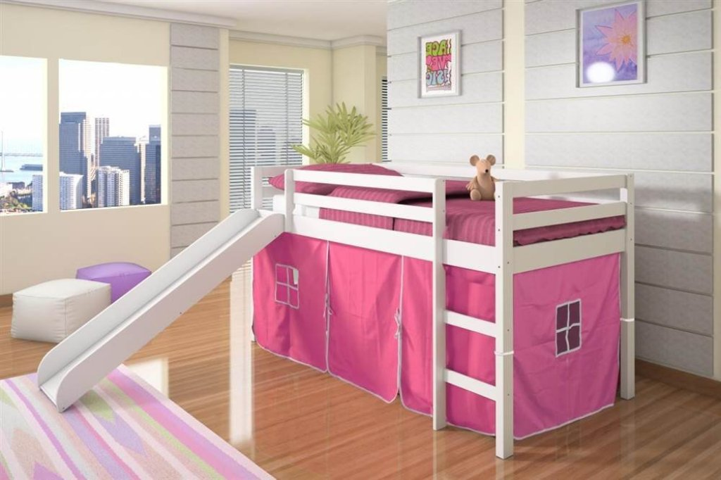 Image of: Kids Bunk Bed With Slide And Storage
