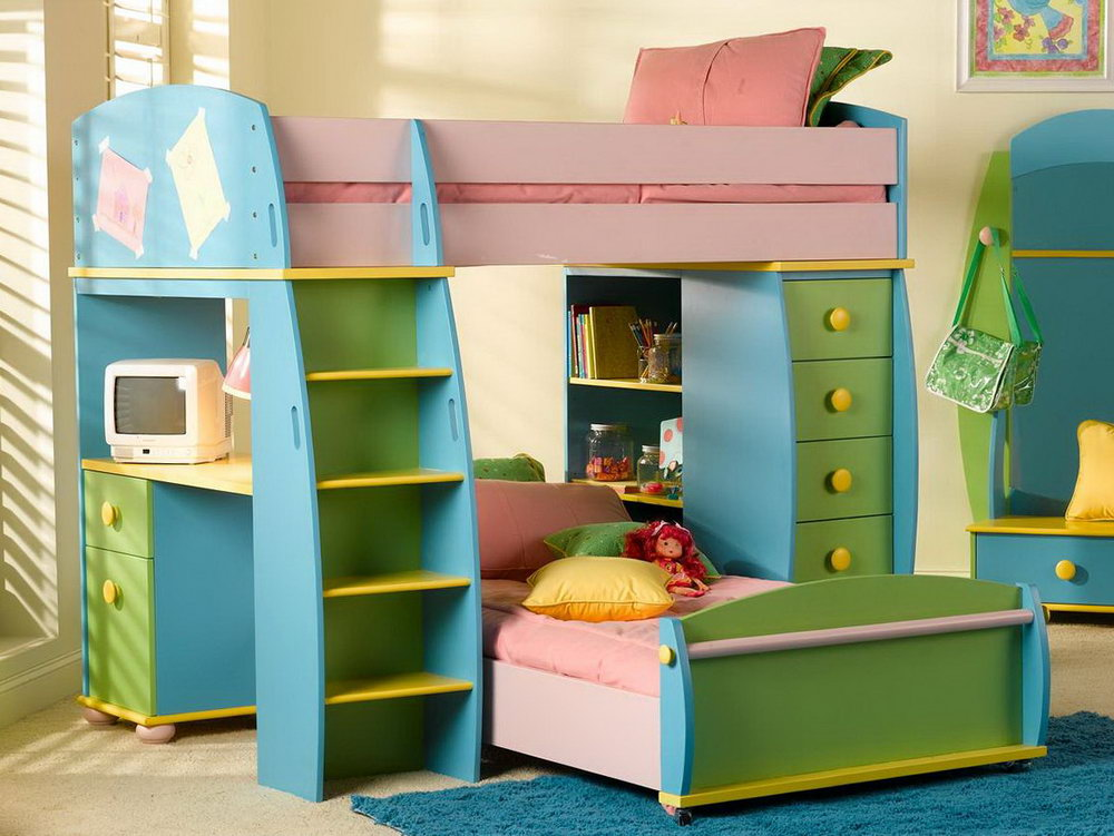 Image of: Kids Bunk Beds With Desk Green