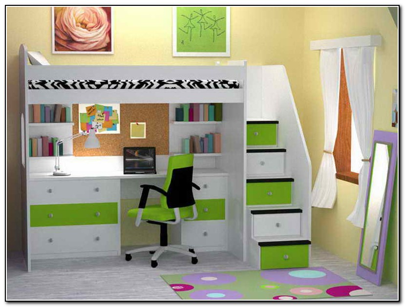 Image of: Kids Bunk Beds With Desk Nice