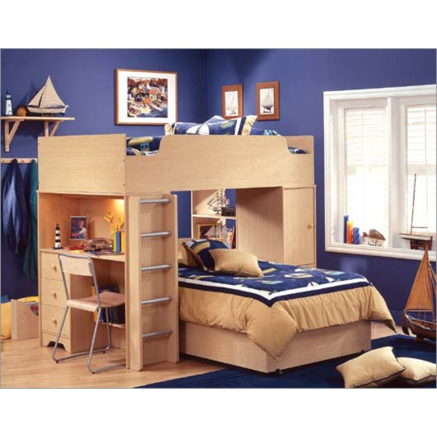 Kids Bunk Beds with Desk Wooden