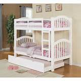Low Bunk Bed with Trundle White