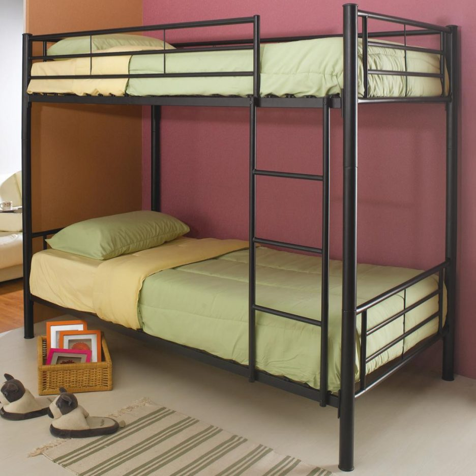Image of: Metal Frame Bunk Beds Twin