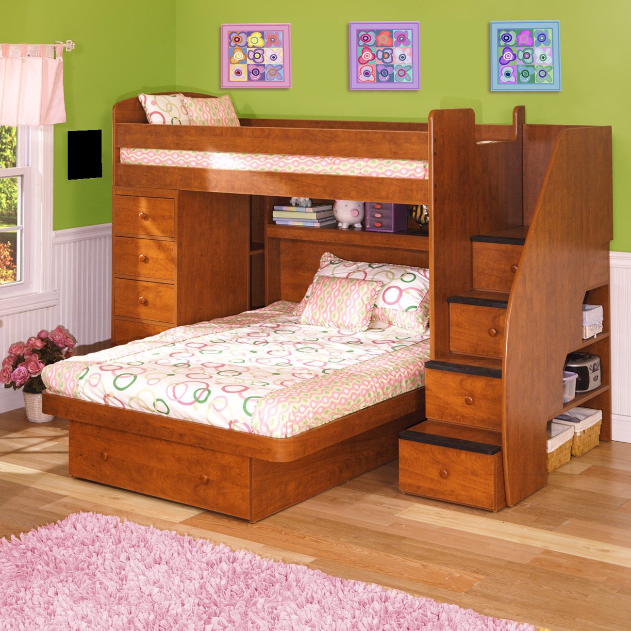 Minimalist Twin Over Full Bunk Bed With Stairs
