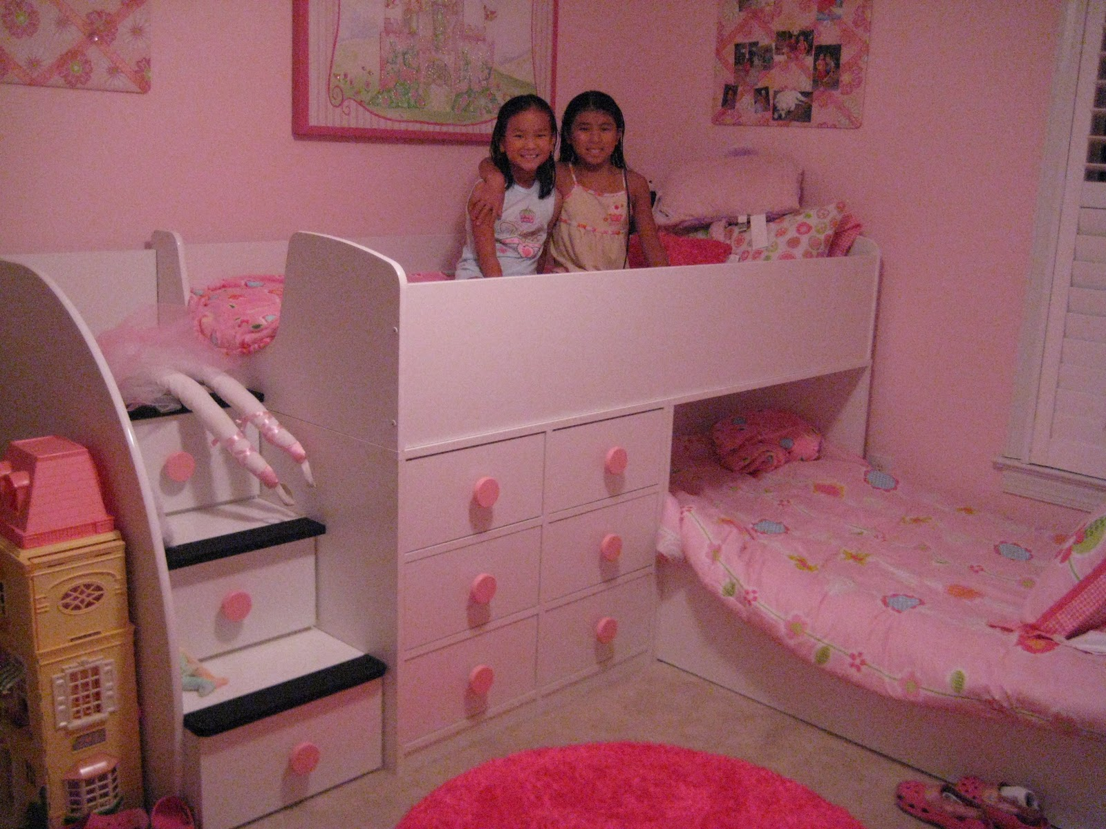 Image of: Pink Princess Bunk Bed