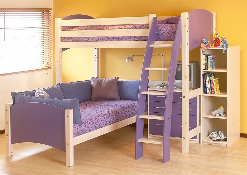 Purple Couch That Converts to Bunk Bed