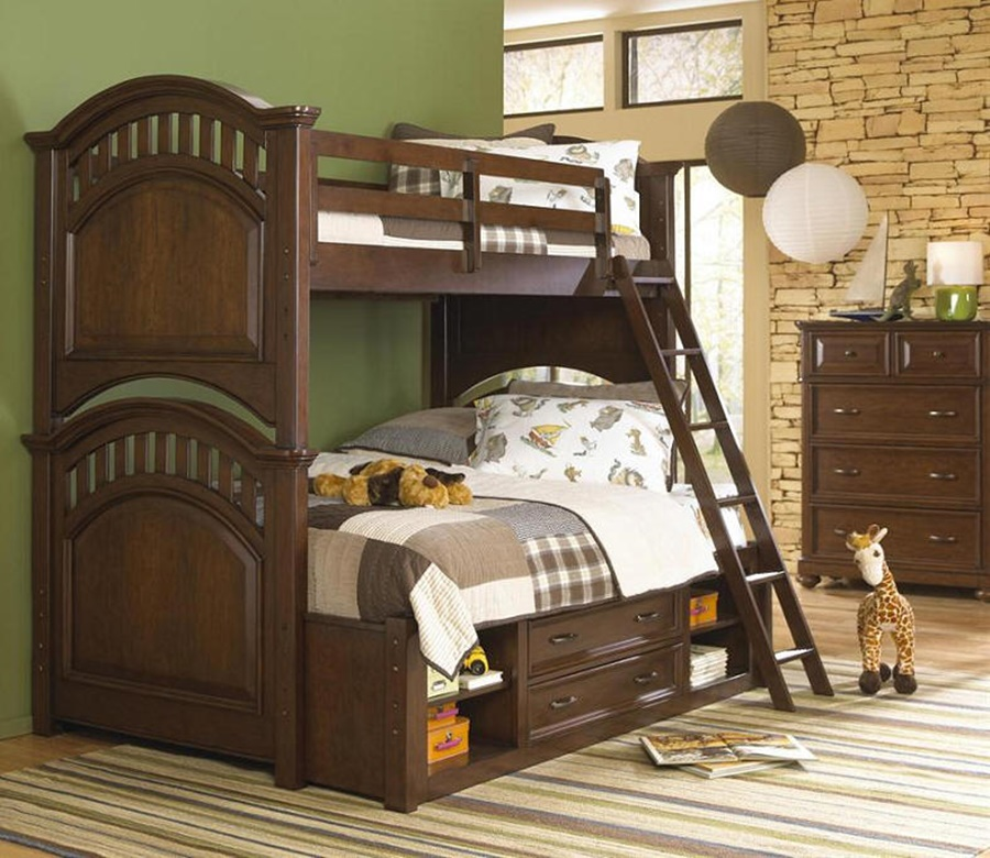 Twin Over Full Cherry Bunk Beds