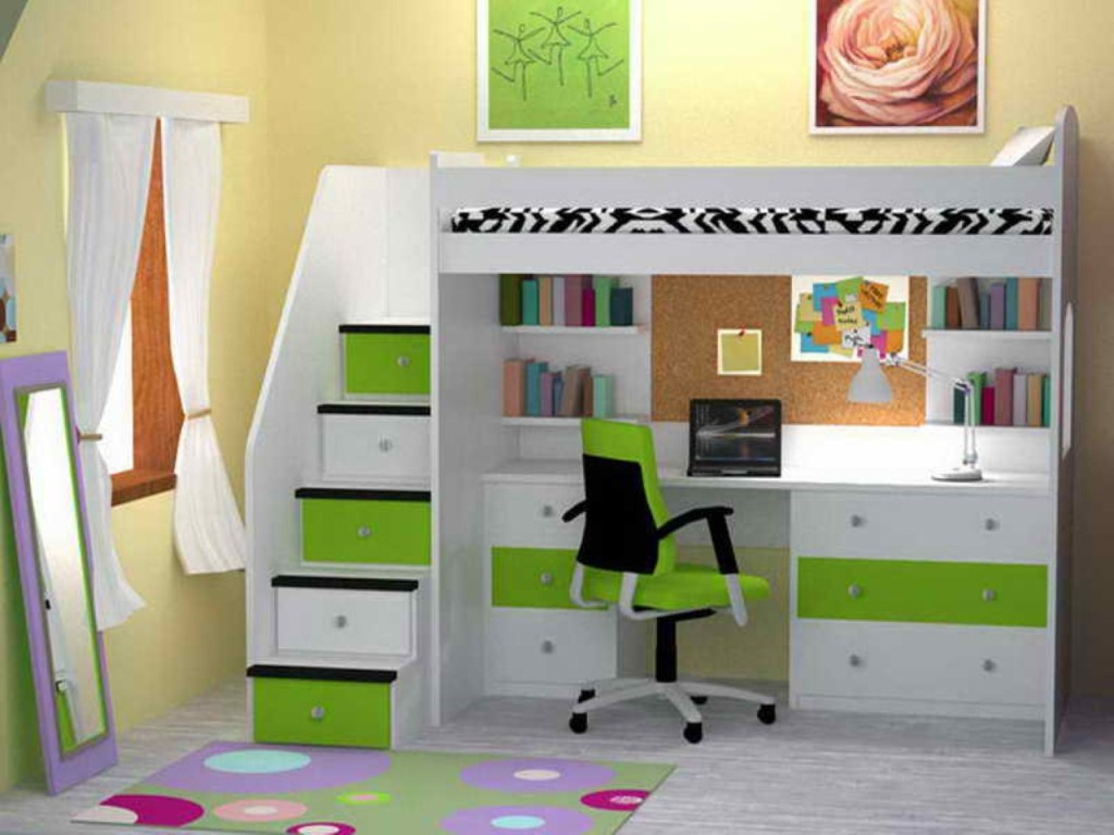 Wall Mounted Bunk Beds With Desk And Storage