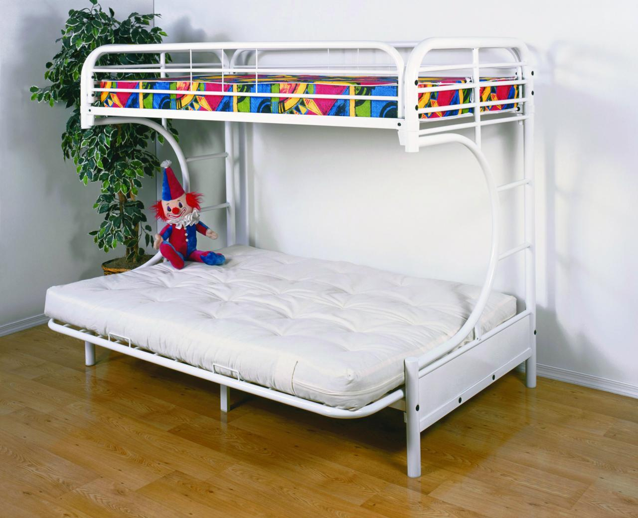 White Bunk Beds with Futon