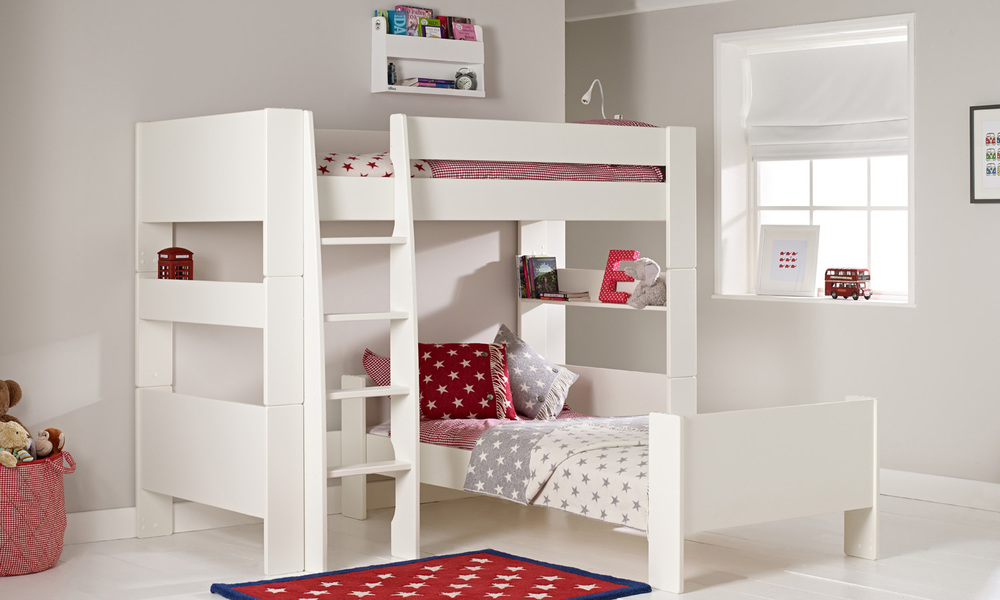 White L Shaped Bunk Beds for Kids