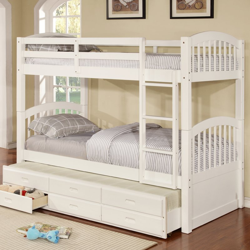 White Twin Bunk Beds with Trundle