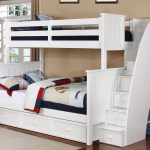 White Twin over Full Bunk Bed with Stairs