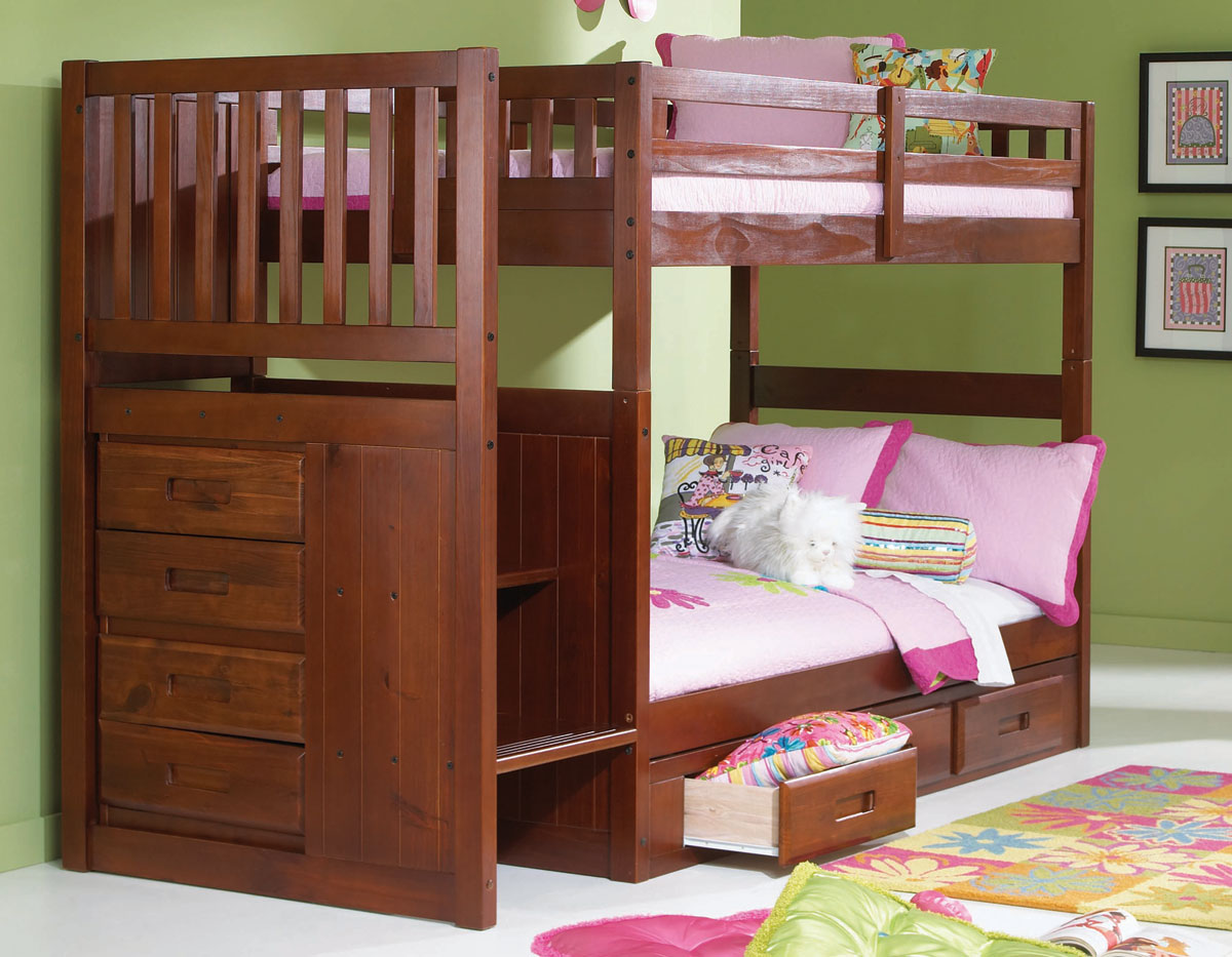 Wood Bunk Beds for Kids with Stairs