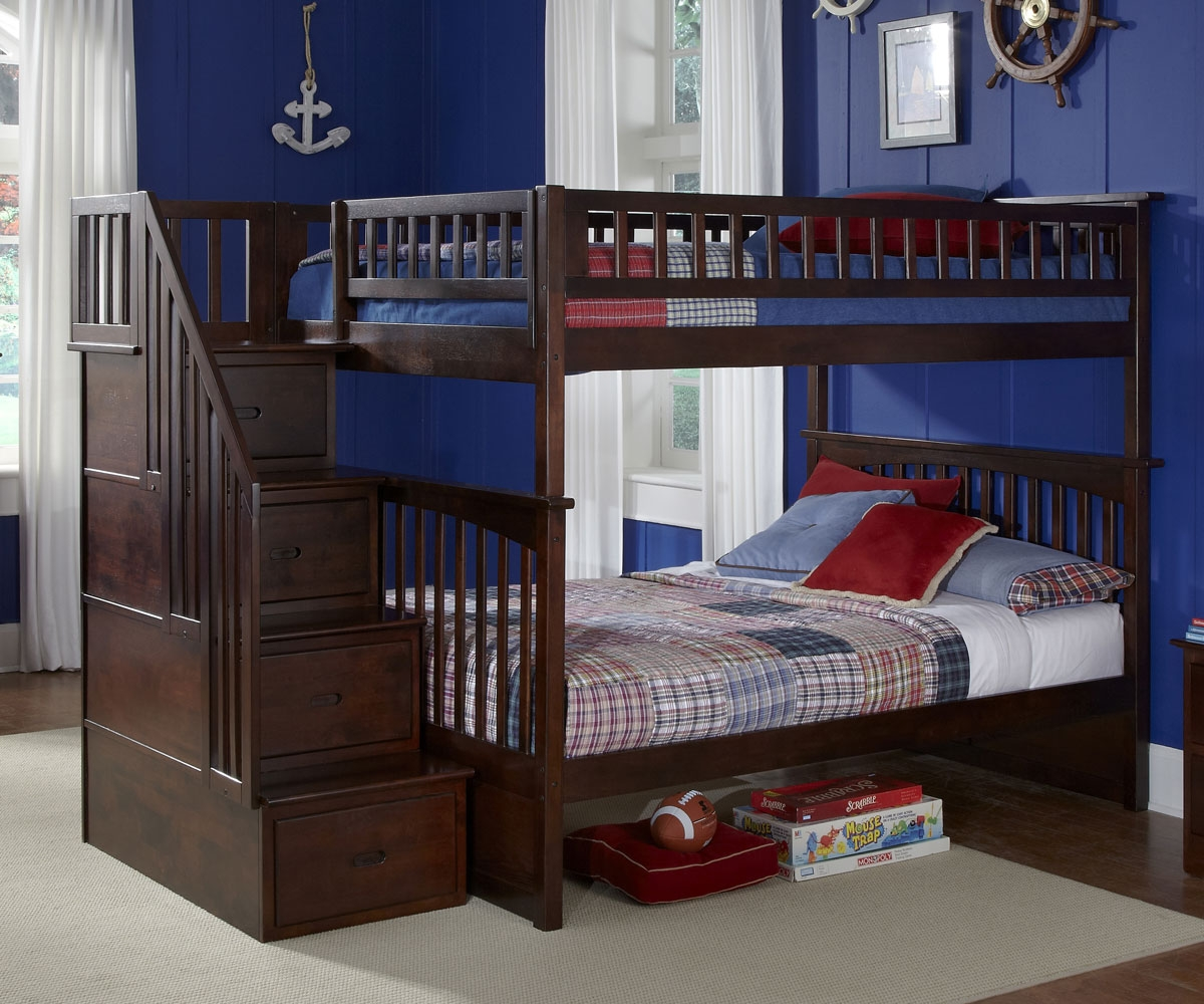 Wood Full over Full Bunk Beds with Stairs
