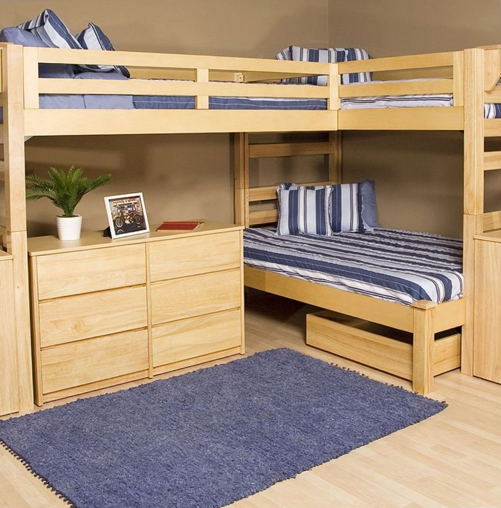Wood L Shaped Bunk Beds