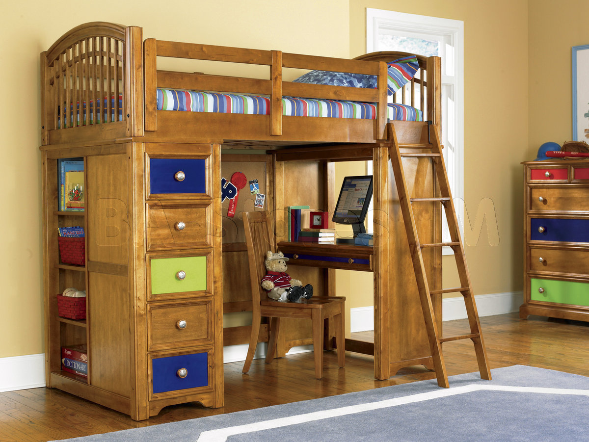 Wood Loft Bunk Bed with Desk