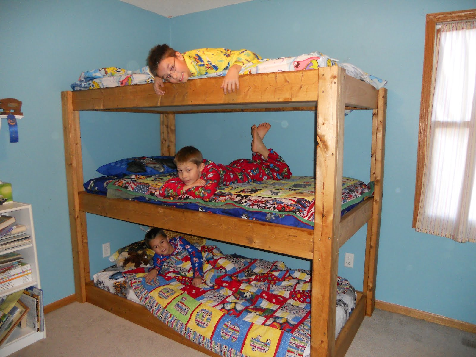 Wood Three Person Bunk Bed