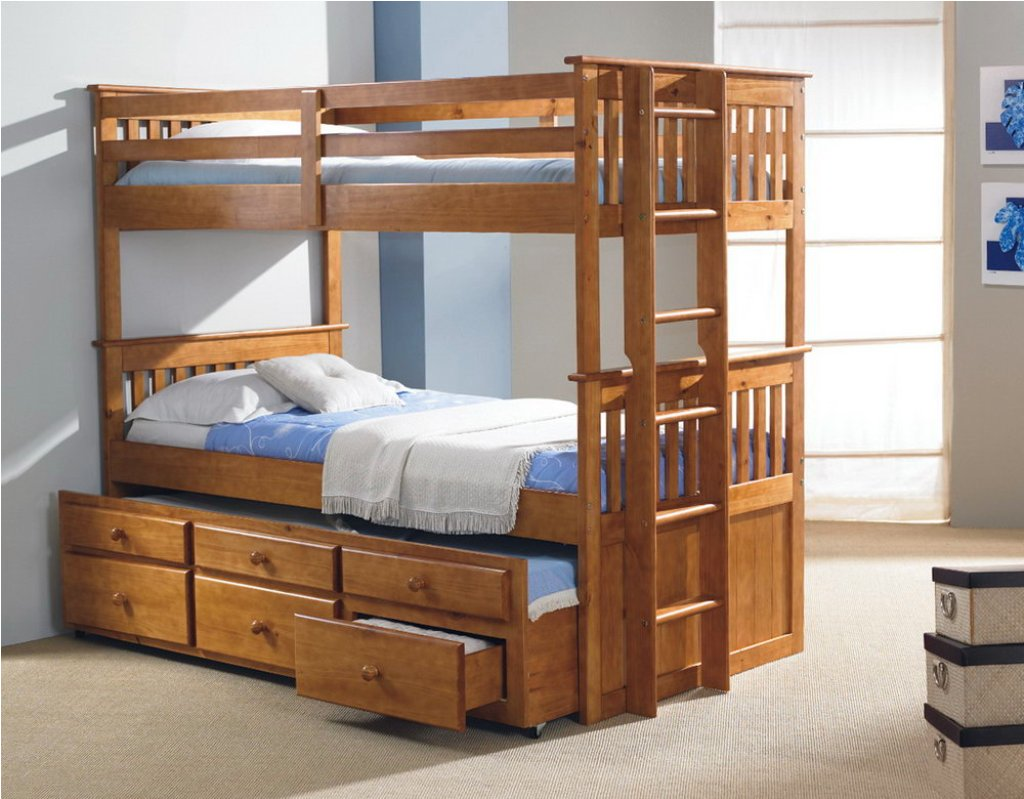 Wooden Trundle Bunk Beds
