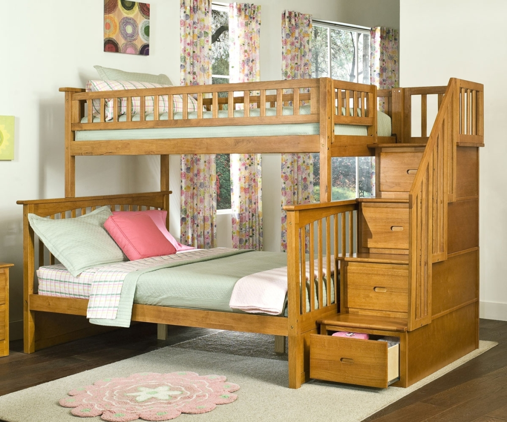 Wooden Twin over Full Bunk Beds Stairs