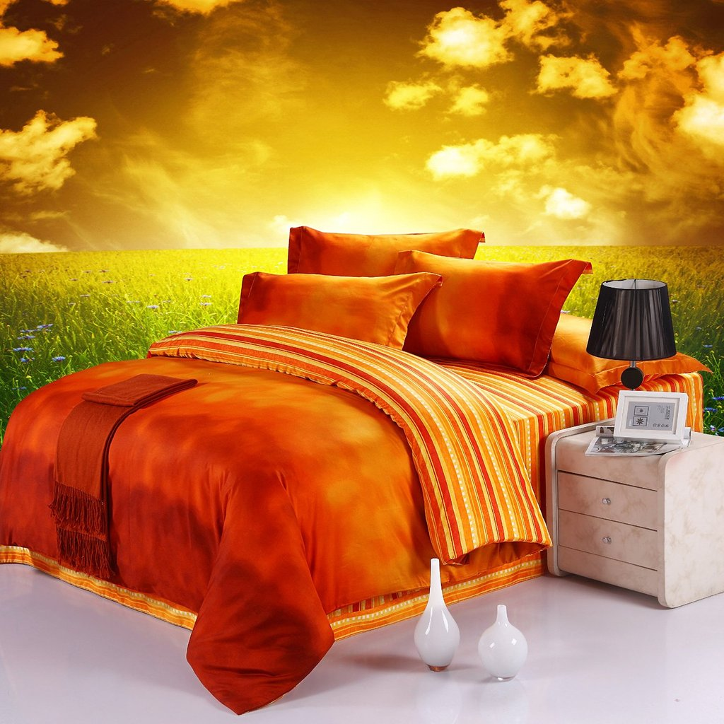 Image of: 10 Fun Bright Orange Comforter Bedding Sets More Ideas to Combine Brown Bedding Set