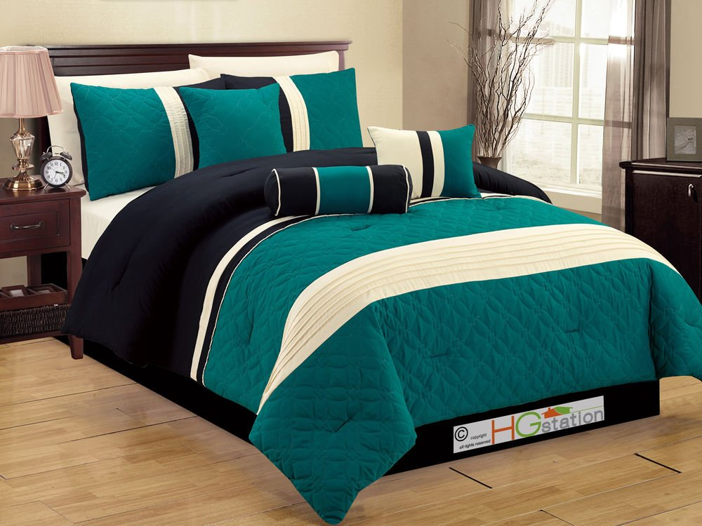 Image of: 7 Pc Quilted Geometric Medallion Comforter Set Queen Teal Beautiful Black Bedding Sets And Combine