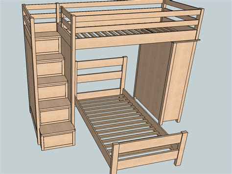 Image of: Bunk Bed Stairs Plans