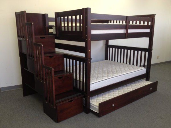 Image of: Bunk Bed With Stairs And Trundle