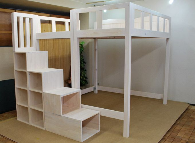 Image of: Full Size Loft Bed With Stairs Plans