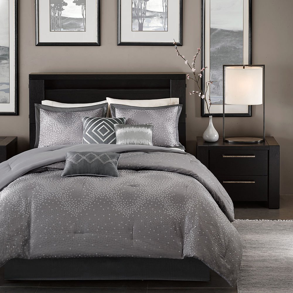 Image of: Beautiful 7pc Modern Contemporary Chic Grey Silver Chevron Beautiful Shades of Grey Bedding Sets