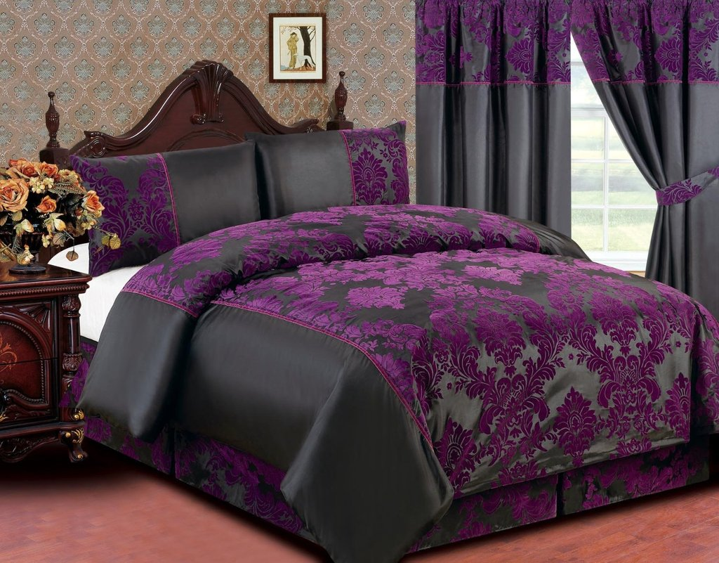 Bedroom Gray Dark Purple King Size Bedding Set Feat Decor Purple And Grey Bedding Sets
