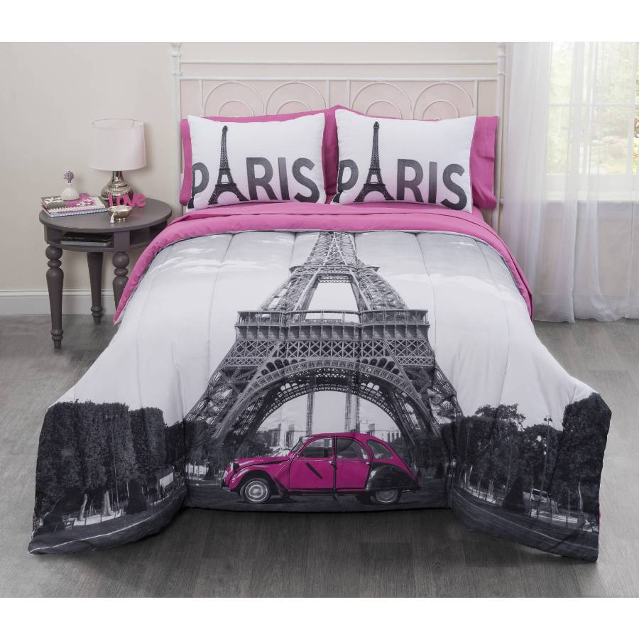 Image of: Black and White Eiffel Tower Bedding and Comforter Set