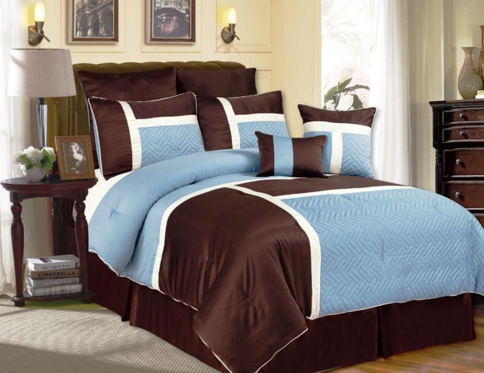 Image of: Blue And Brown Comforter Sets Queen