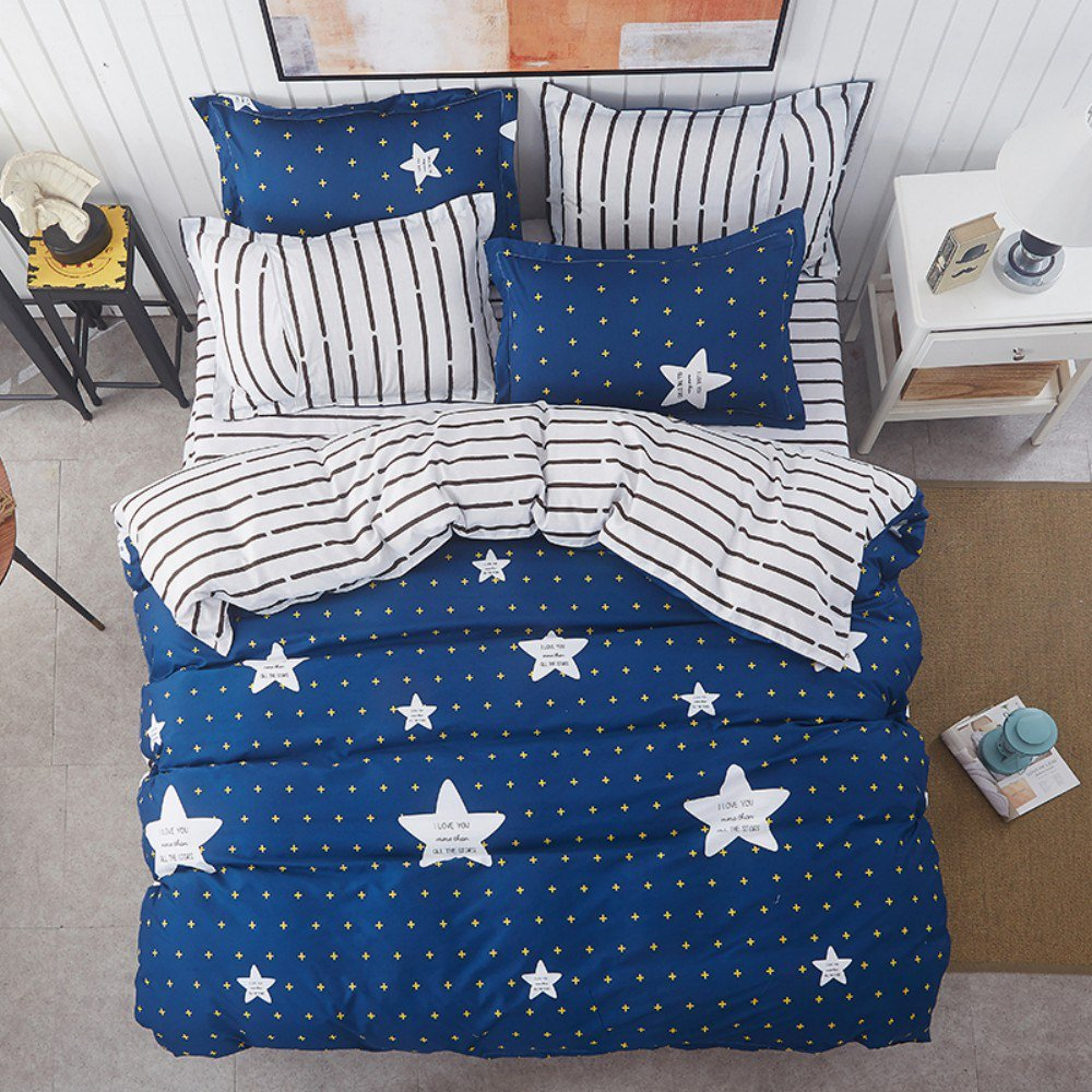 Image of: Blue Euro King Fashion Dream Star Personalized Super Cute Cloud Bedding Set You'll Love