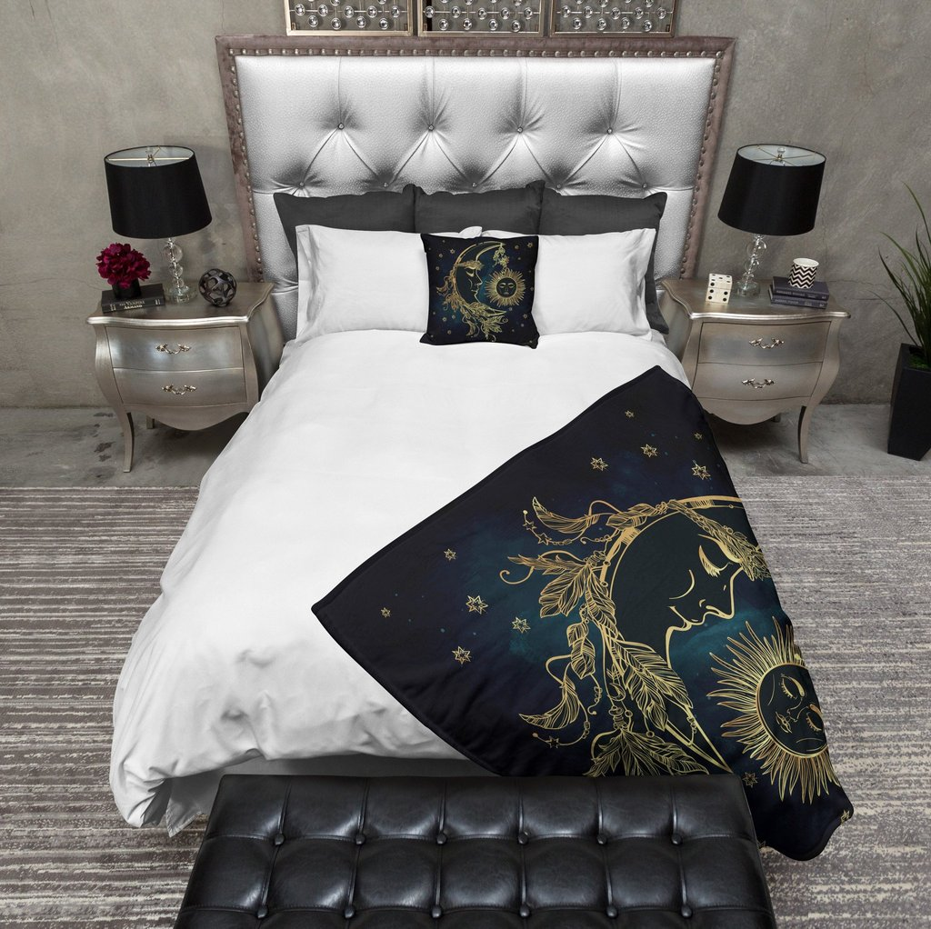 Image of: Boho Midnight Black Teal Gold Sun Moon Star Bedding Ink Rag Boho Bedding Sets with a Few Simple Details