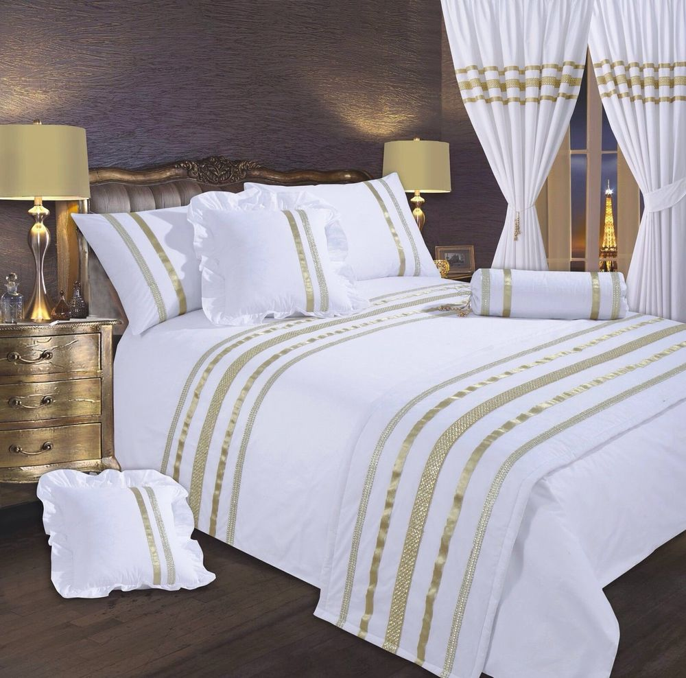 Clean Gold And White Dorm Bedding