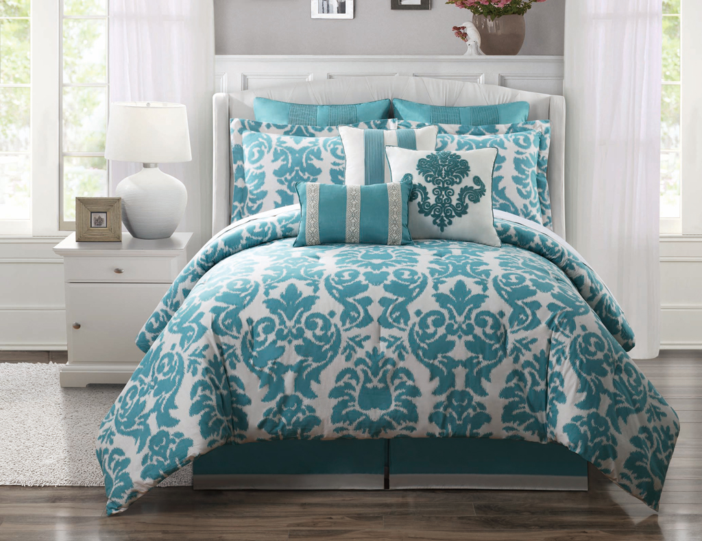 Image of: Cotton Grey And Teal Duvet Cover Bedroom