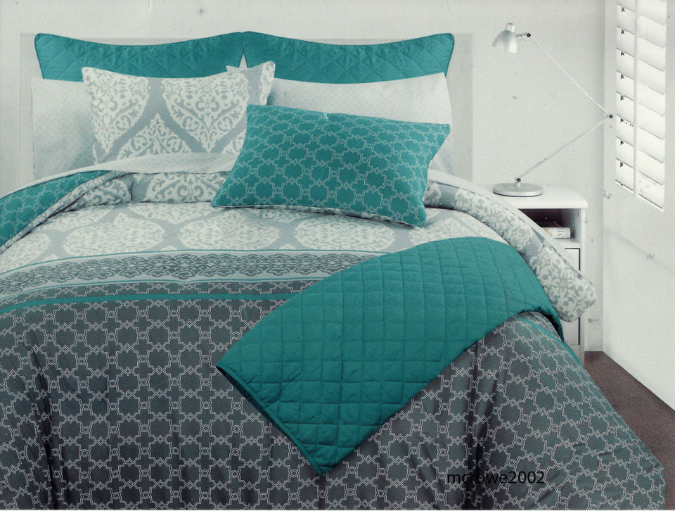 Image of: Cynthia Rowley Grey And Teal Bedding Twin