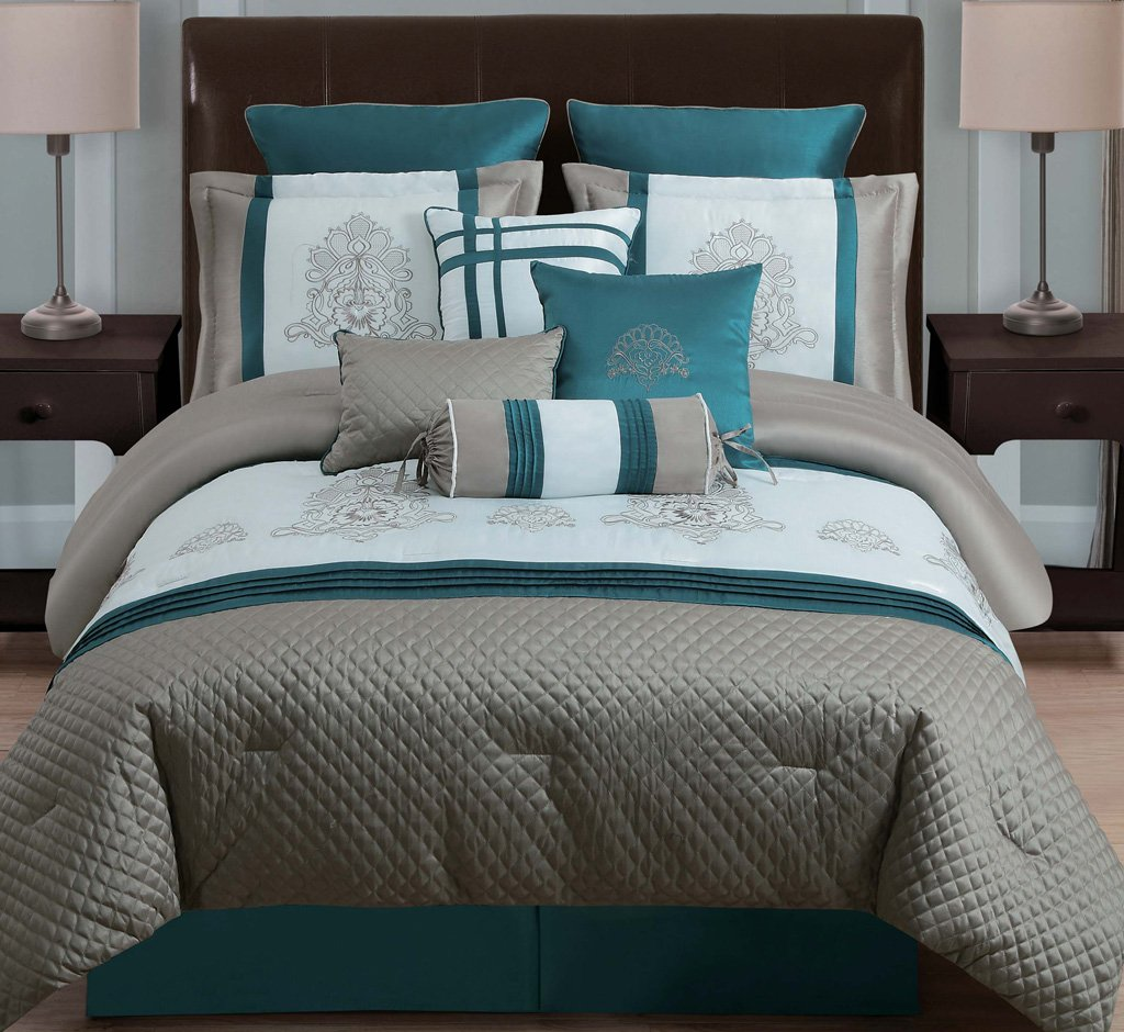 Image of: Dark Teal Comforter Set 10 Piece Queen Avalon Taupe Teal Ivory Comforter Set Art Ideas Grey And Teal Bedding Sets Creative