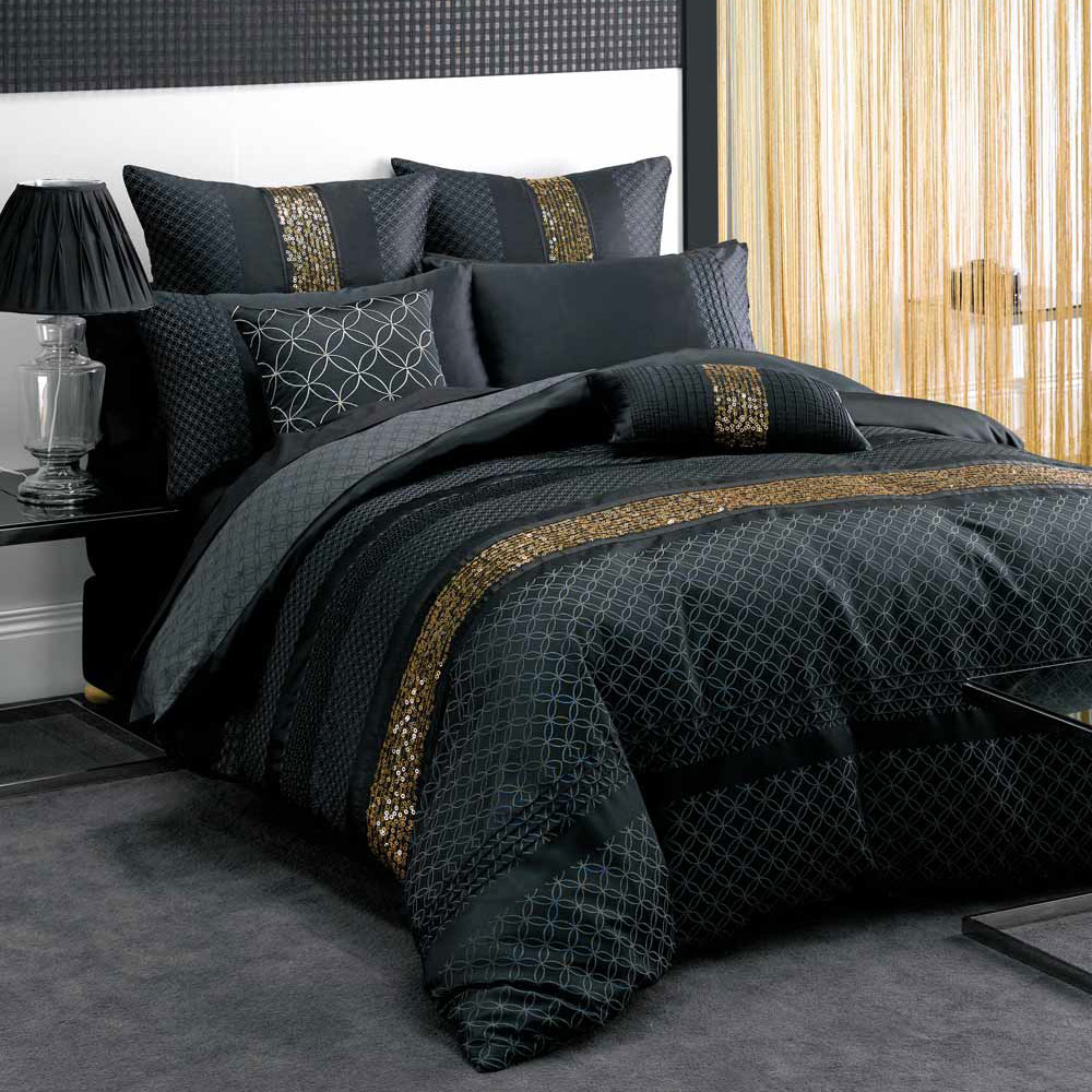 Image of: Discount Luxury Bedding Black