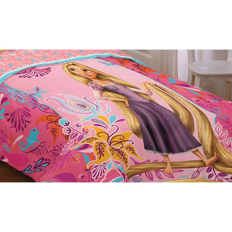 Image of: Disney Tangled Letting Hair Twin Full Bed Comforter Ideas for Princess Bedding Set Full