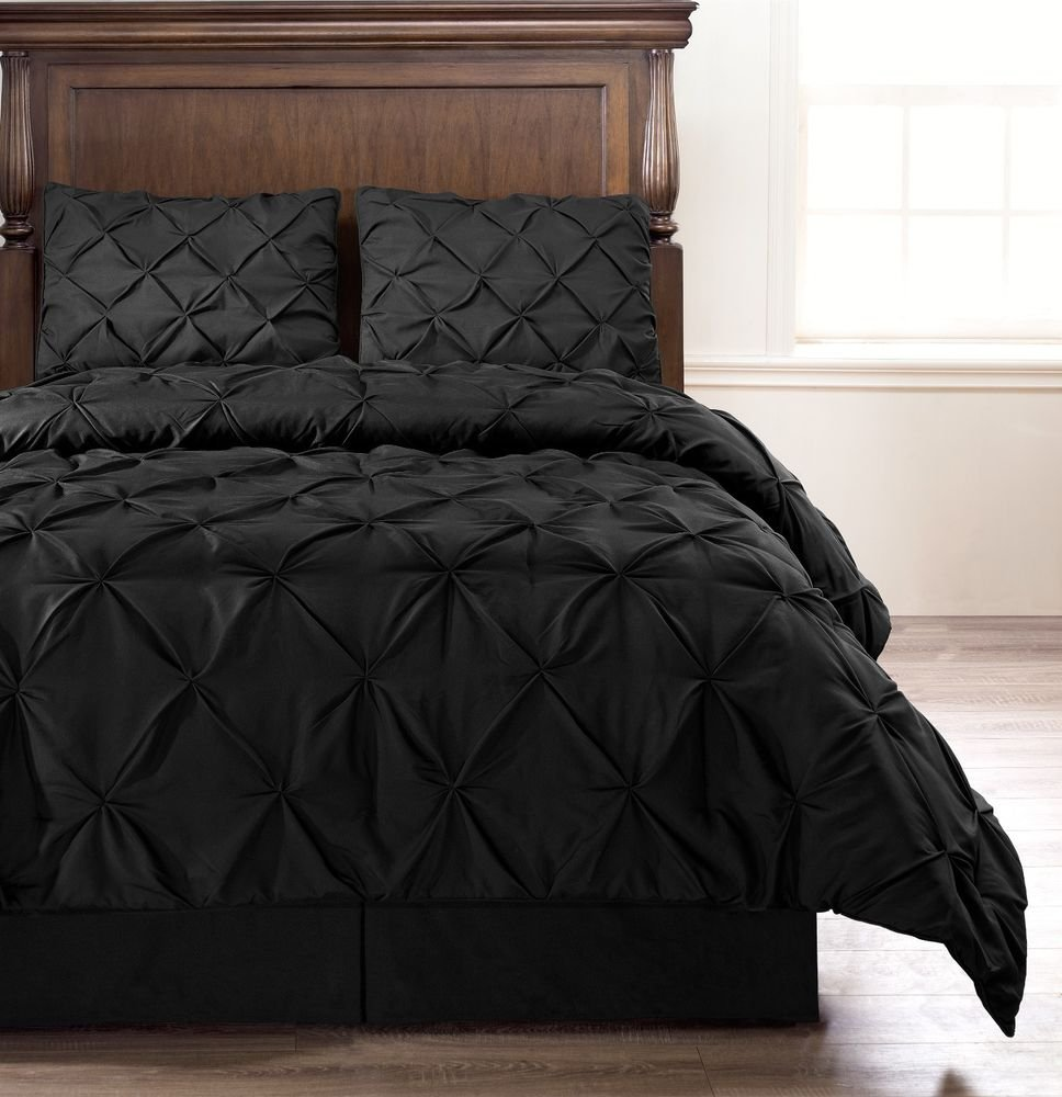 Image of: Emerson Black 4 Pc Pinched Pleat Comforter Set Full Beautiful Black Bedding Sets And Combine
