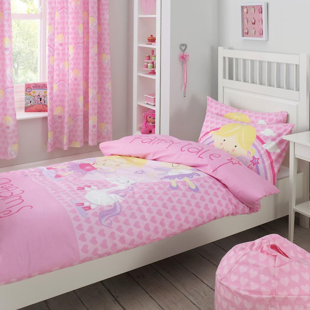 Image of: Fairy Tale Dream Princess Heart Kid Girl Pink Cotton Ideas for Princess Bedding Set Full